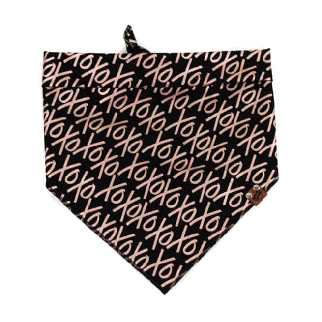 xoxo rose gold pattern on black dog bandana