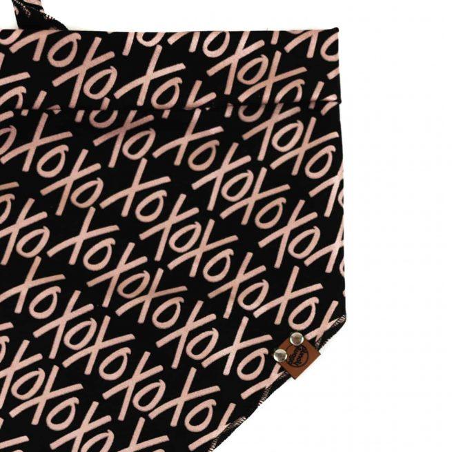 xoxo rose gold pattern on black backround dog bandana