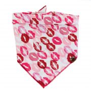 Red, pink and burgundy kisses on white background dog bandana