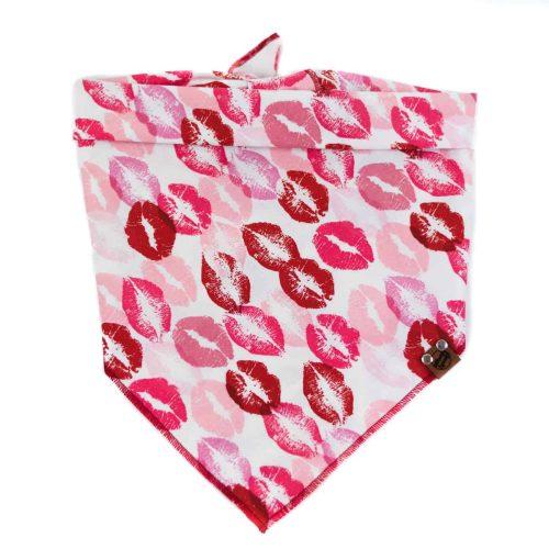 Red, pink and burgundy kisses on white background dog bandana