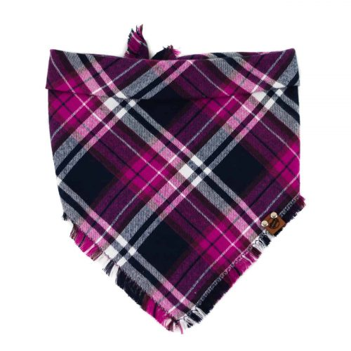 Purple, Pink, Navy and white frayed dog bandana