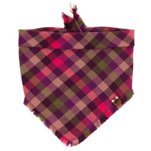 Pink, Olive, Tan and purple frayed dog bandana