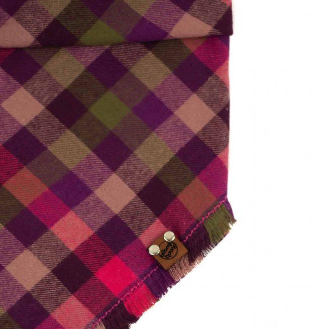 Pink, Olive, Tan and purple frayed dog bandana