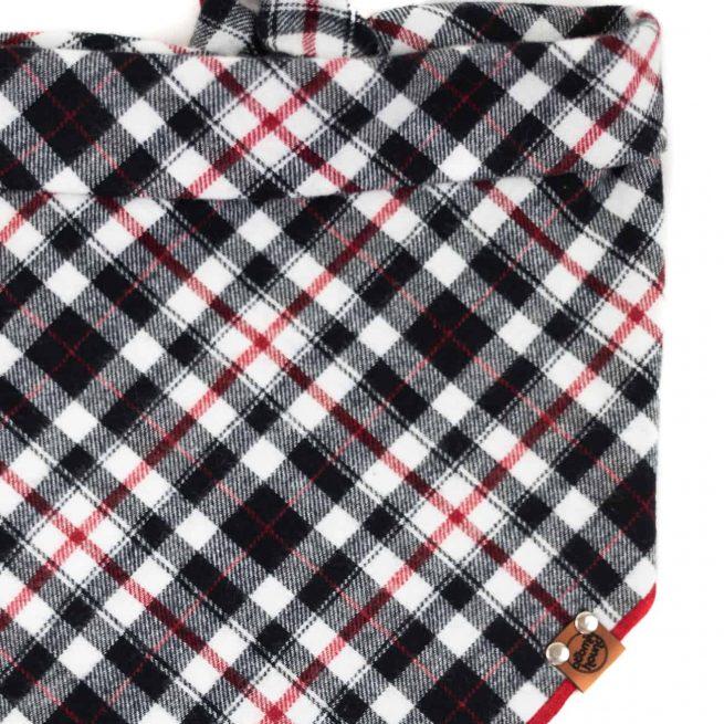 Black, white, red, grey checkered dog bandana with red hem