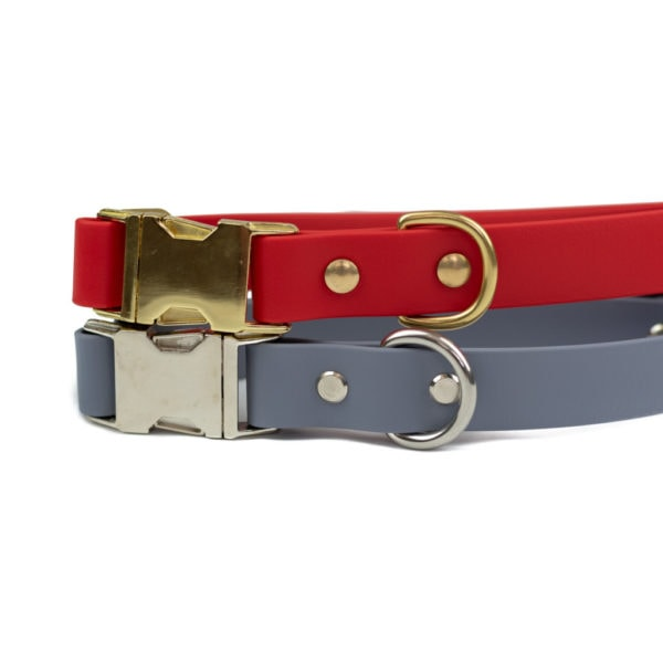 red and grey quick release dog collar