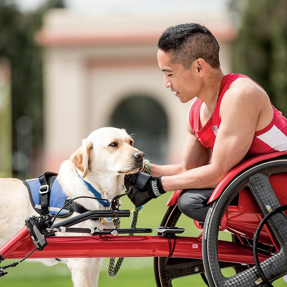 Steven and Ringo: He lives an active life, is the coordinator for an adaptive and veteran sports program, and was a member of the U.S. track team in the Paralympics in Rio de Janeiro. Steven's Canine Companions service dog, Ringo, helps with the laundry, retrieves items Steven drops and gets Steven's crutches when he needs them.