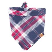 Red, Blue and white frayed dog bandana