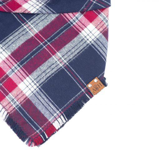 Red, Blue and white frayed dog bandana