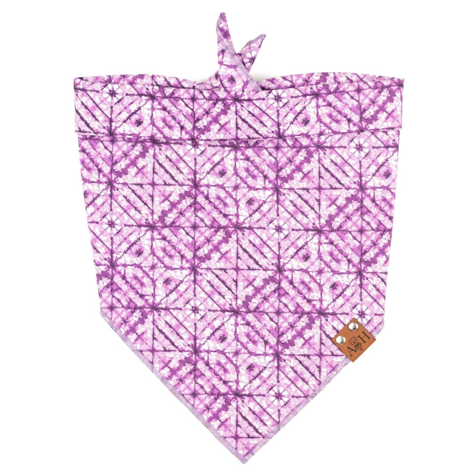 Purple criss cross tie dye pattern dog bandana