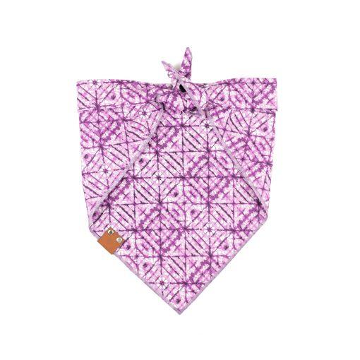 Purple criss cross tie dye pattern dog bandana