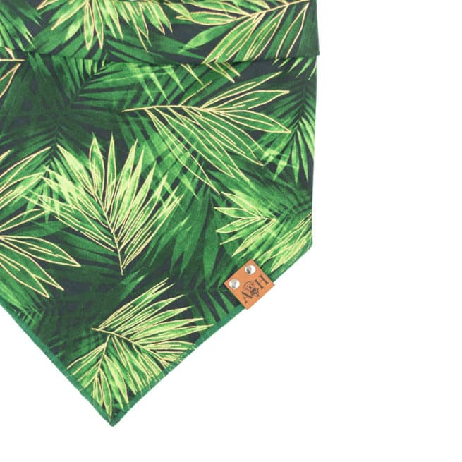 green and gold Fronds Dog Bandana