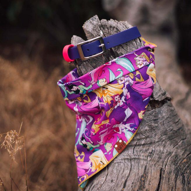 Princess Dog Bandana and waterproof purple dog collar