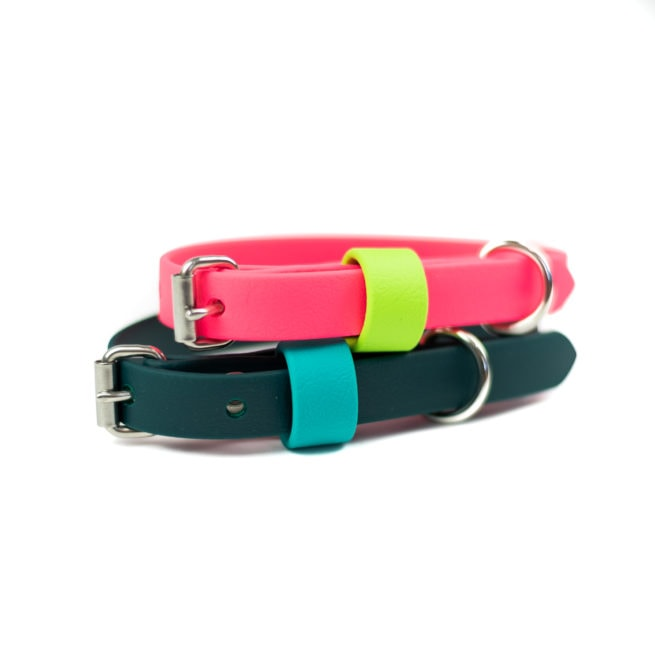 """5/8"""" small adventure dog collar in pink and green"""