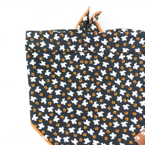 Black Dog Bandana with white ghosts and orange pumpkins for halloween
