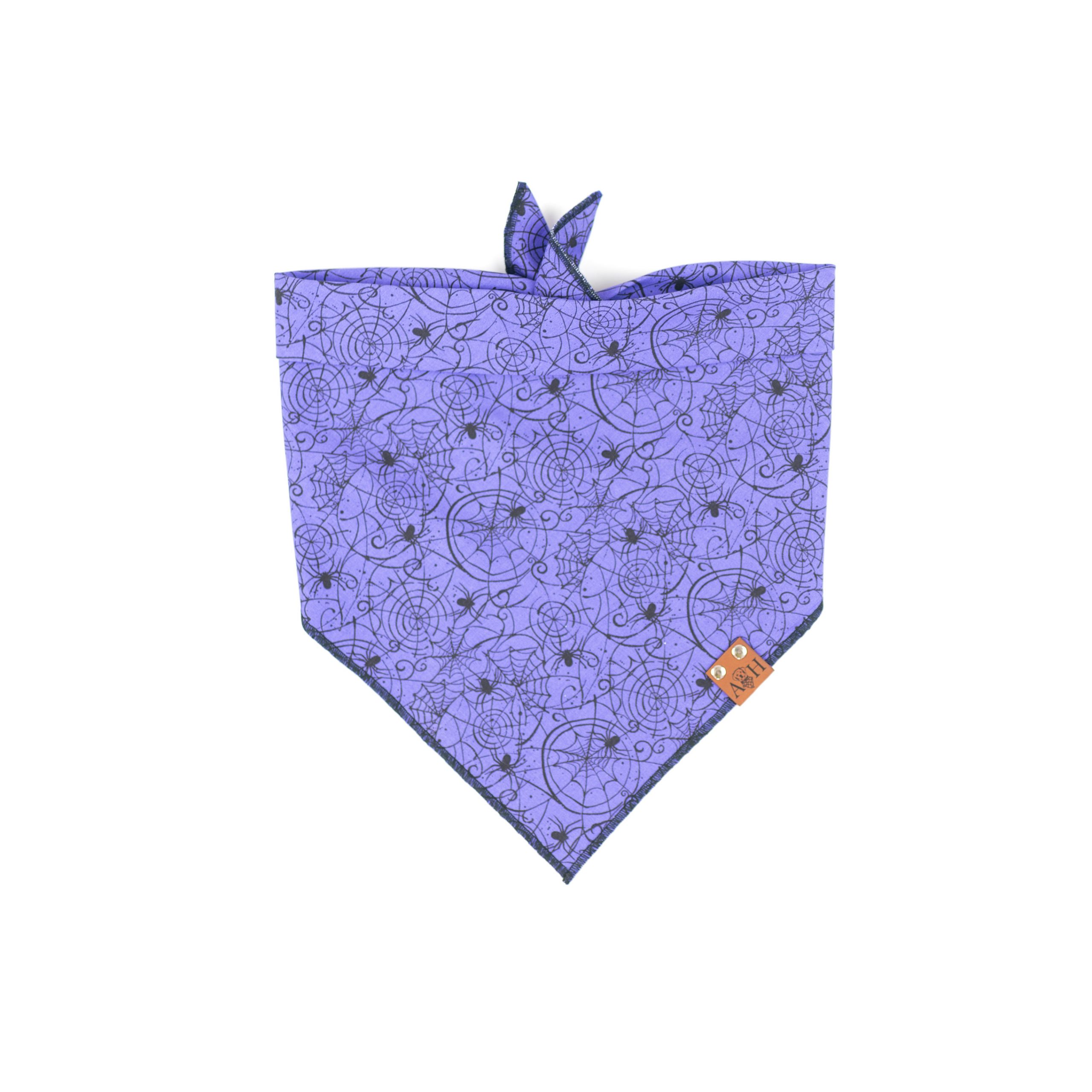 Purple spider web halloween dog bandana