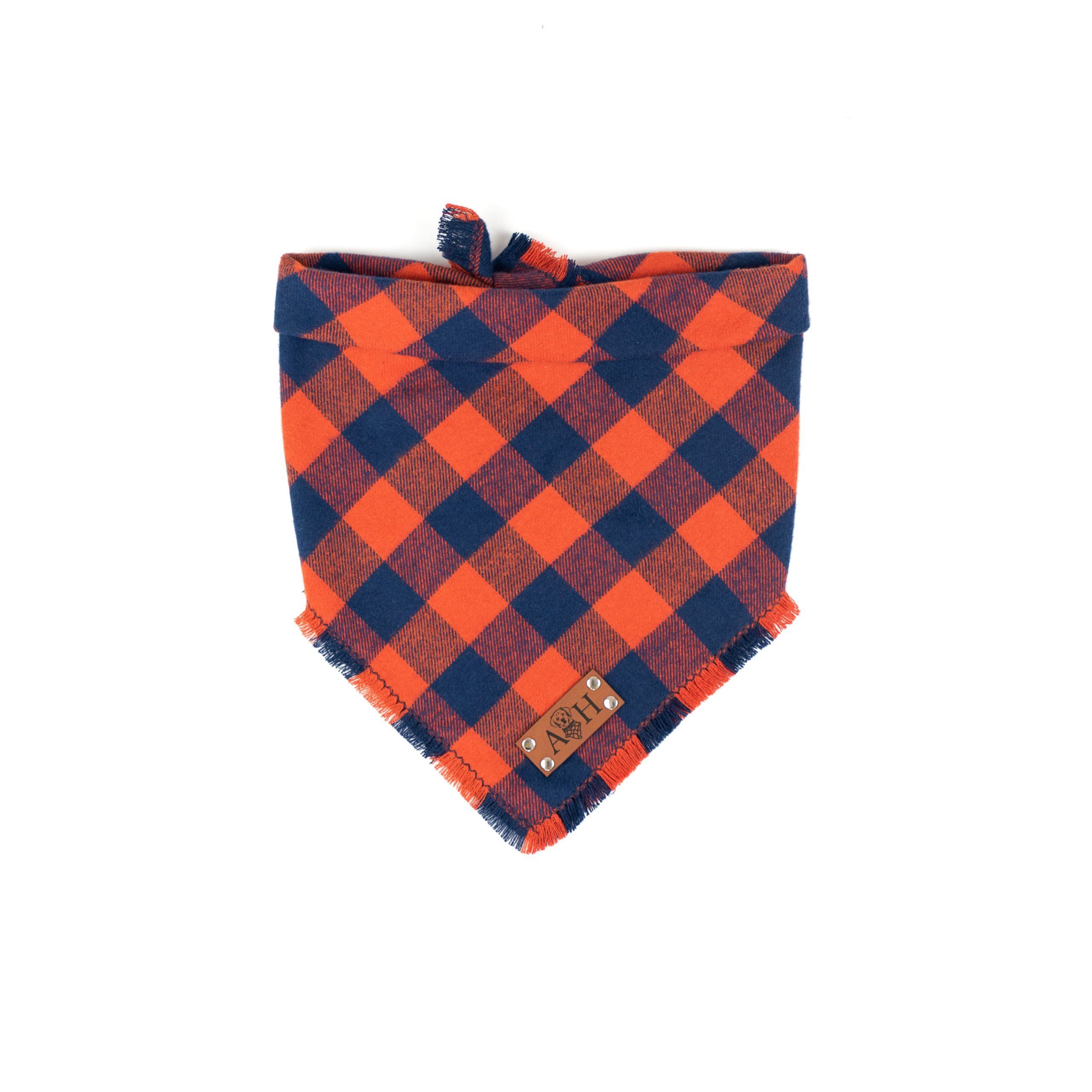 blue and orange frayed dog bandana