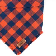 blue and orange frayed dog bandana