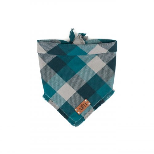 Teal, Blue and grey frayed dog bandana