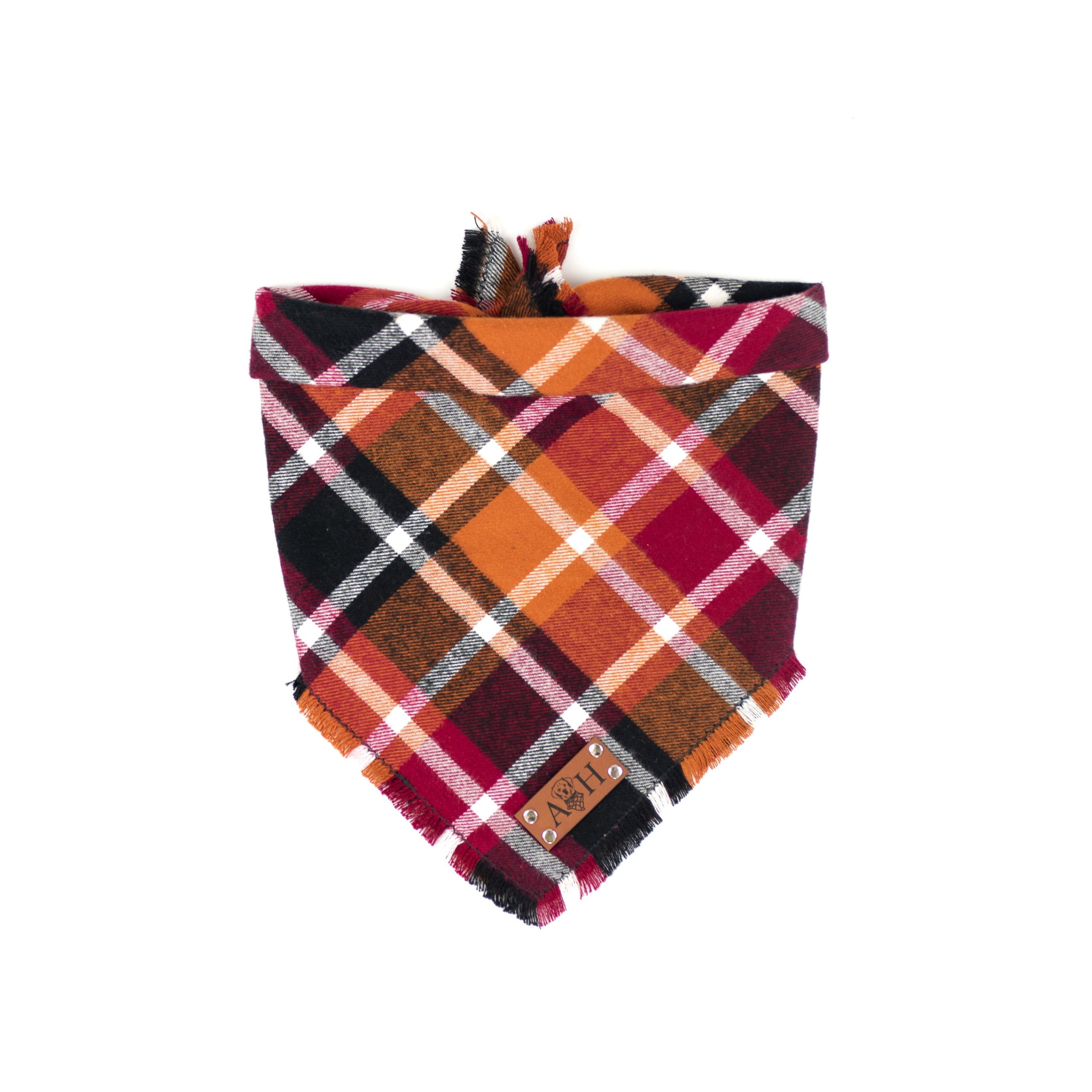 Red, Orange, Burgundy Frayed Flannel Dog Bandana