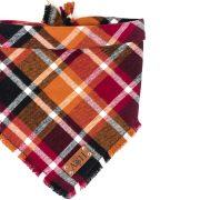 Red, Orange, Burgundy Frayed Flannel Dog Bandana