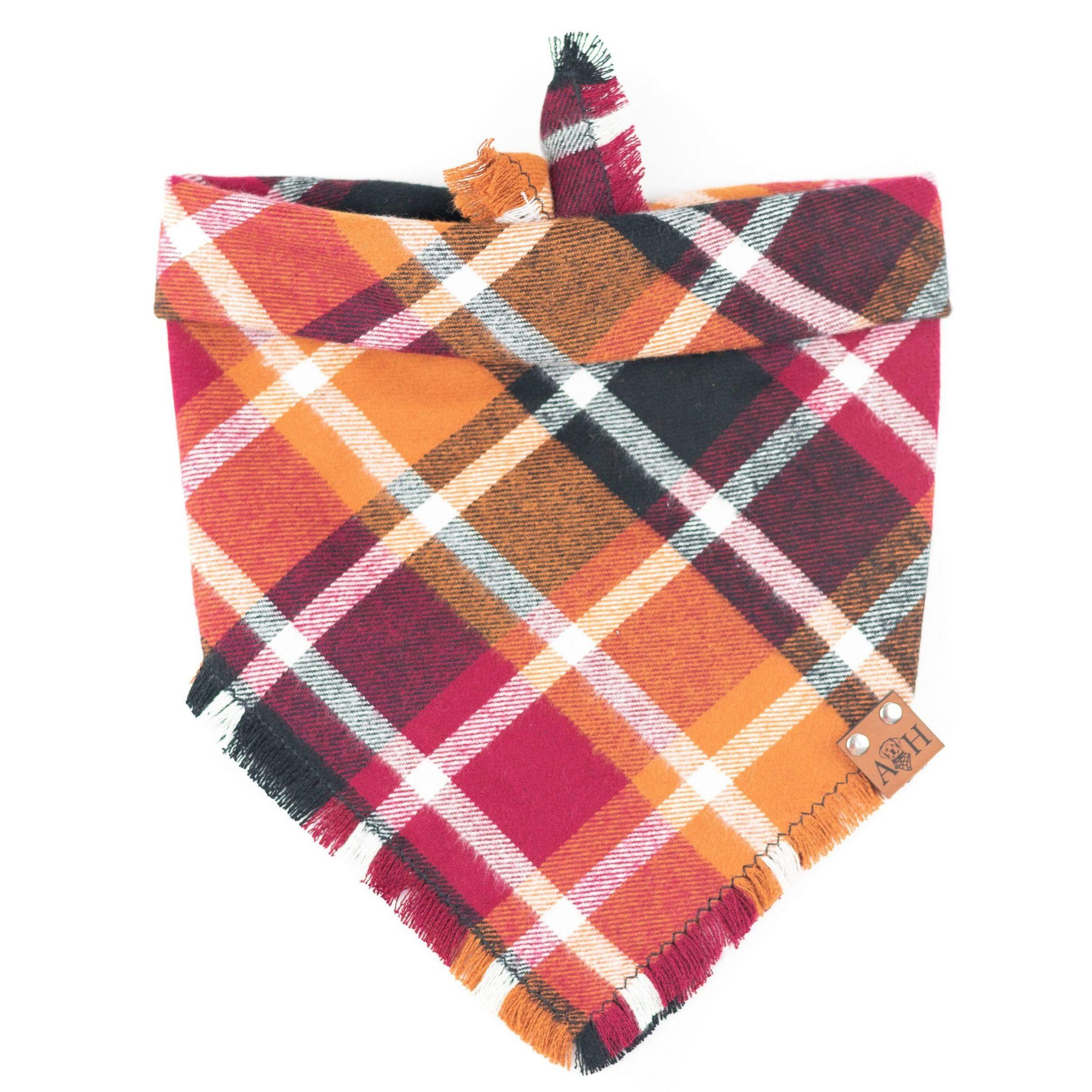 Red, orange and yellow frayed dog bandana