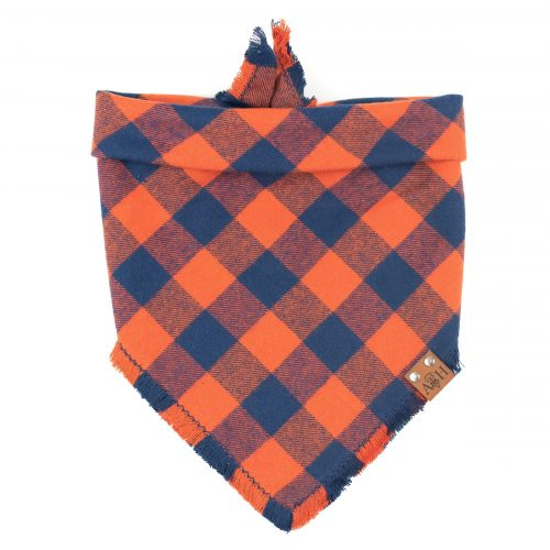 orange and blue frayed bandana