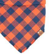 orange and blue frayed bandana