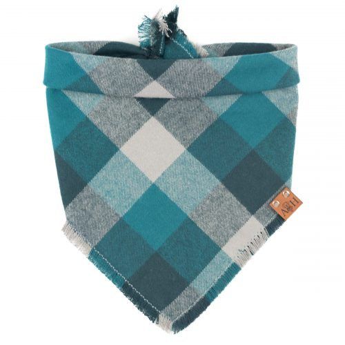 Blue and grey frayed dog bandana