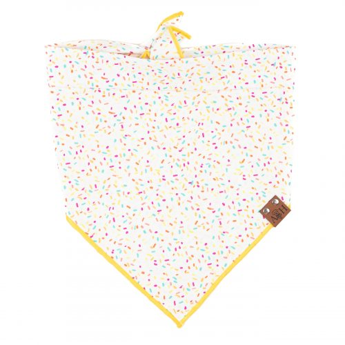 sprinkles dog bandana with a yellow trim