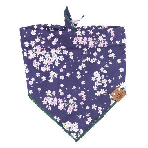 Thalia dog bandana with purple background and pink cherry blossoms