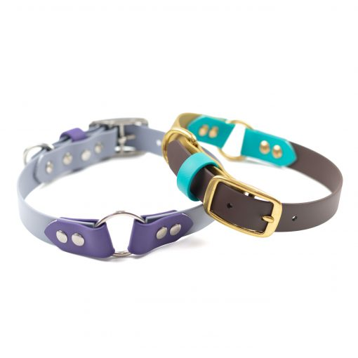 Grey, purple stainless steel and teal, brown, gold brass center o ring collar