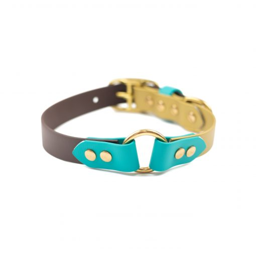 teal, brown, gold brass center o ring collar