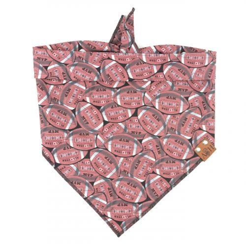 MVP Football Dog Bandana in brownish red color