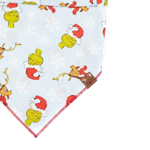 Light blue grinchmas dog bandana with the grinch and max