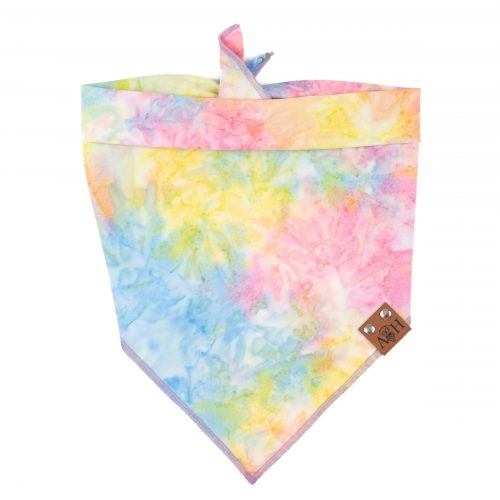 Rainbow Dream Dog Bandana in pale tied dyed yellow, pink, blue
