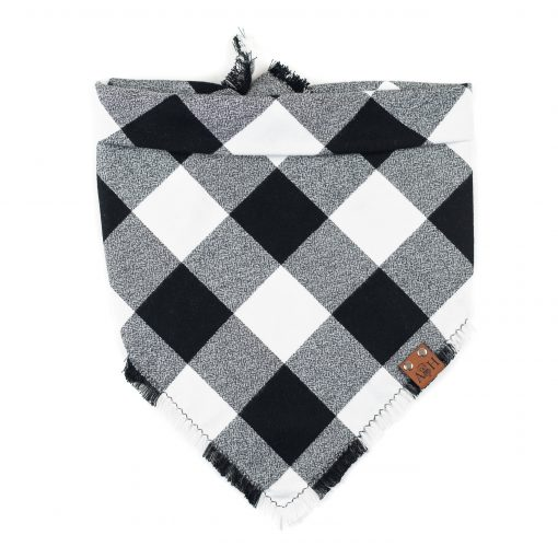 Black and white buffalo frayed dog bandana