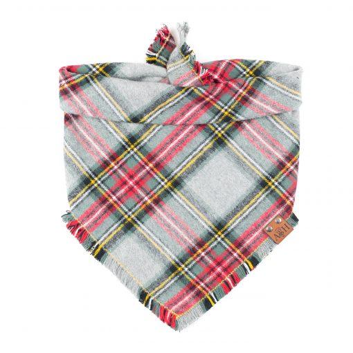 Jasper frayed bandana in grey, green and red christmas dog bandana