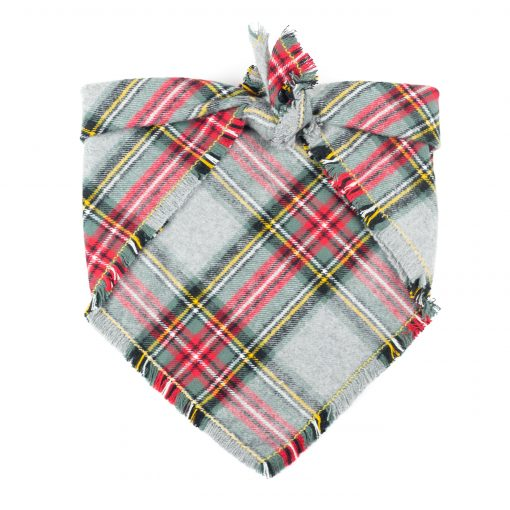 Grey, green and red christmas frayed dog bandana