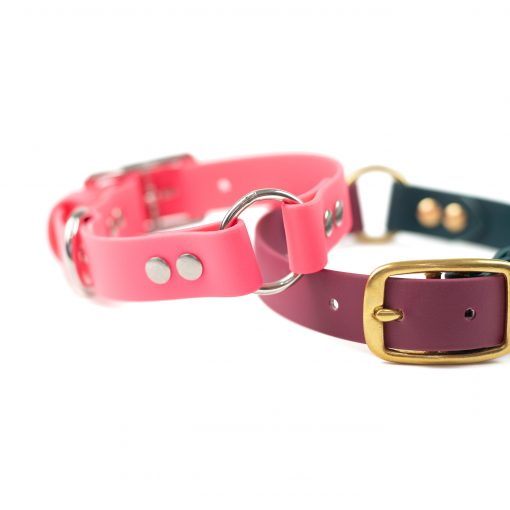 Pink, stainless steel and burgundy, forest green brass center o-ring collar