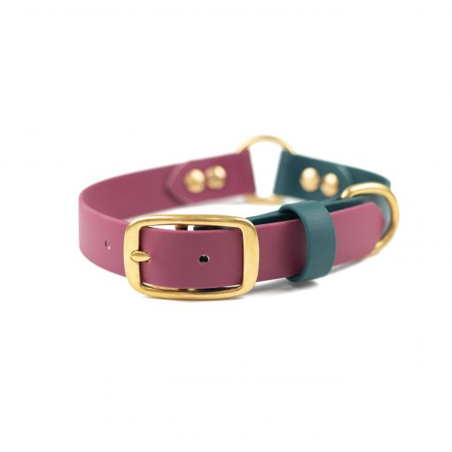 burgundy, forest green brass center o-ring collar