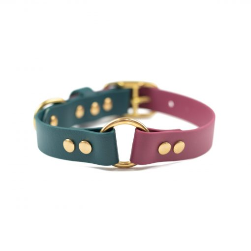 burgundy, forest green brass center o-ring collar