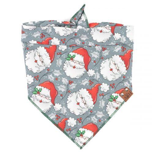 Jolly Retro Santa Dog Bandana in grey and with sparkles