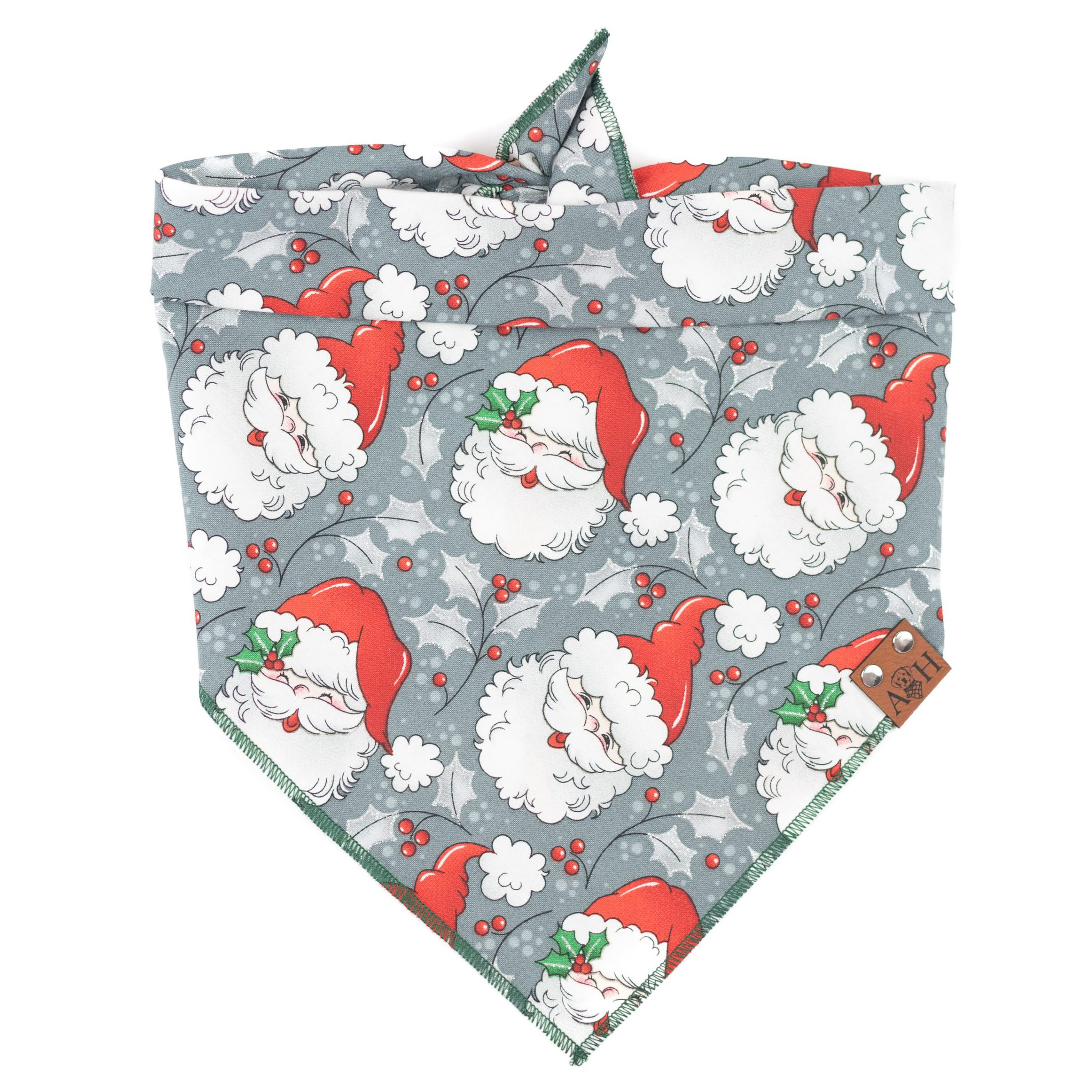 Jolly Retro Santa Dog Bandana in grey and with sparkles