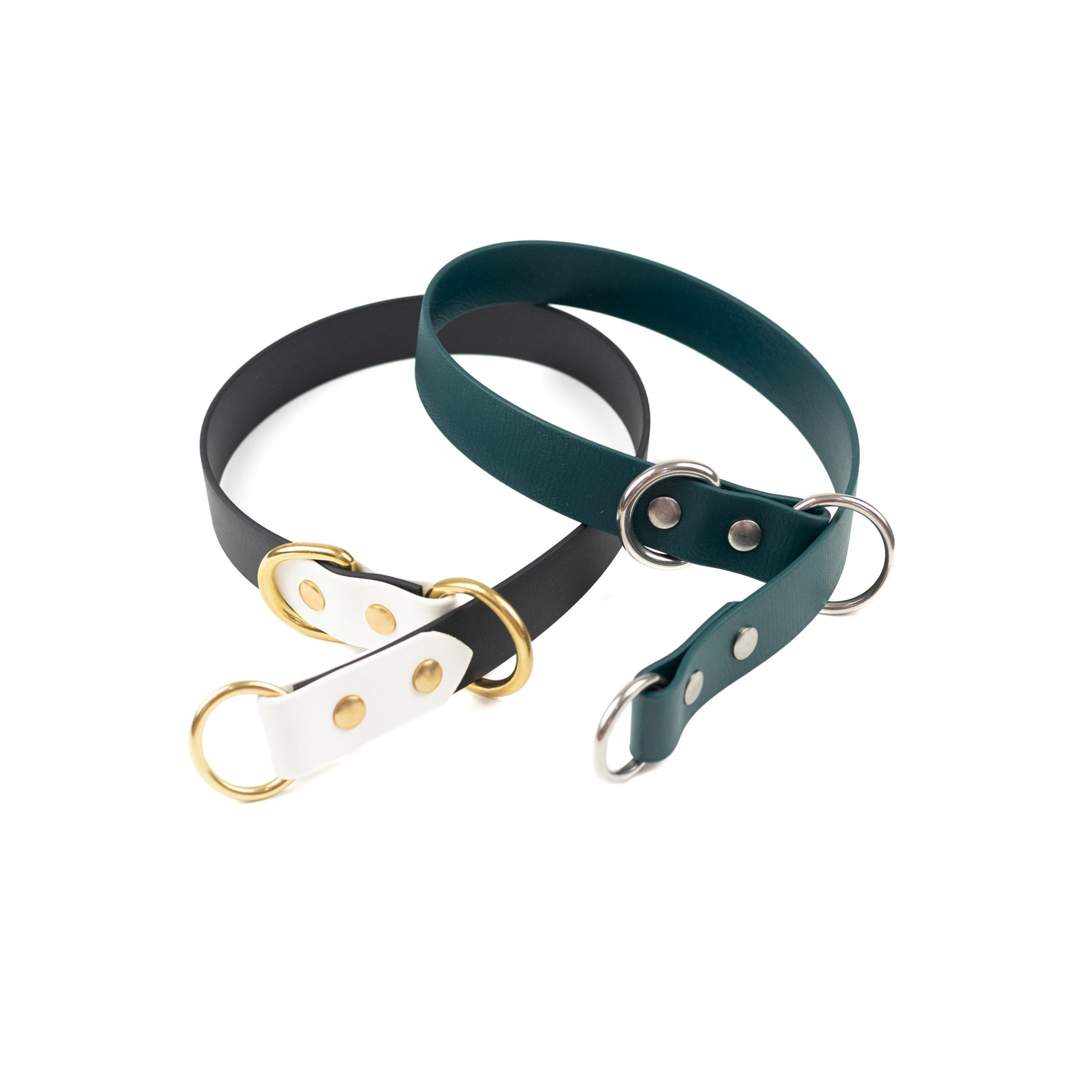 full slip collar in black and white and gold and forest green and silver