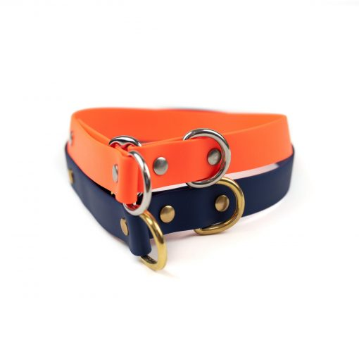 """orange, stainless steel and navy solid brass classic 1"""" limited slip collar"""