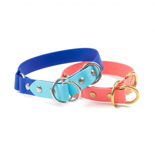 """Blue tone and coral 1"""" o-ring limited slip collar make from biothane"""