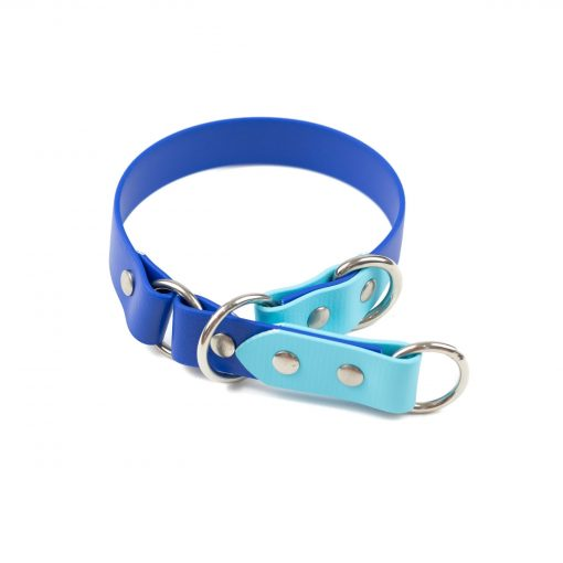 """Blue tone 1"""" o-ring limited slip collar make from biothane"""