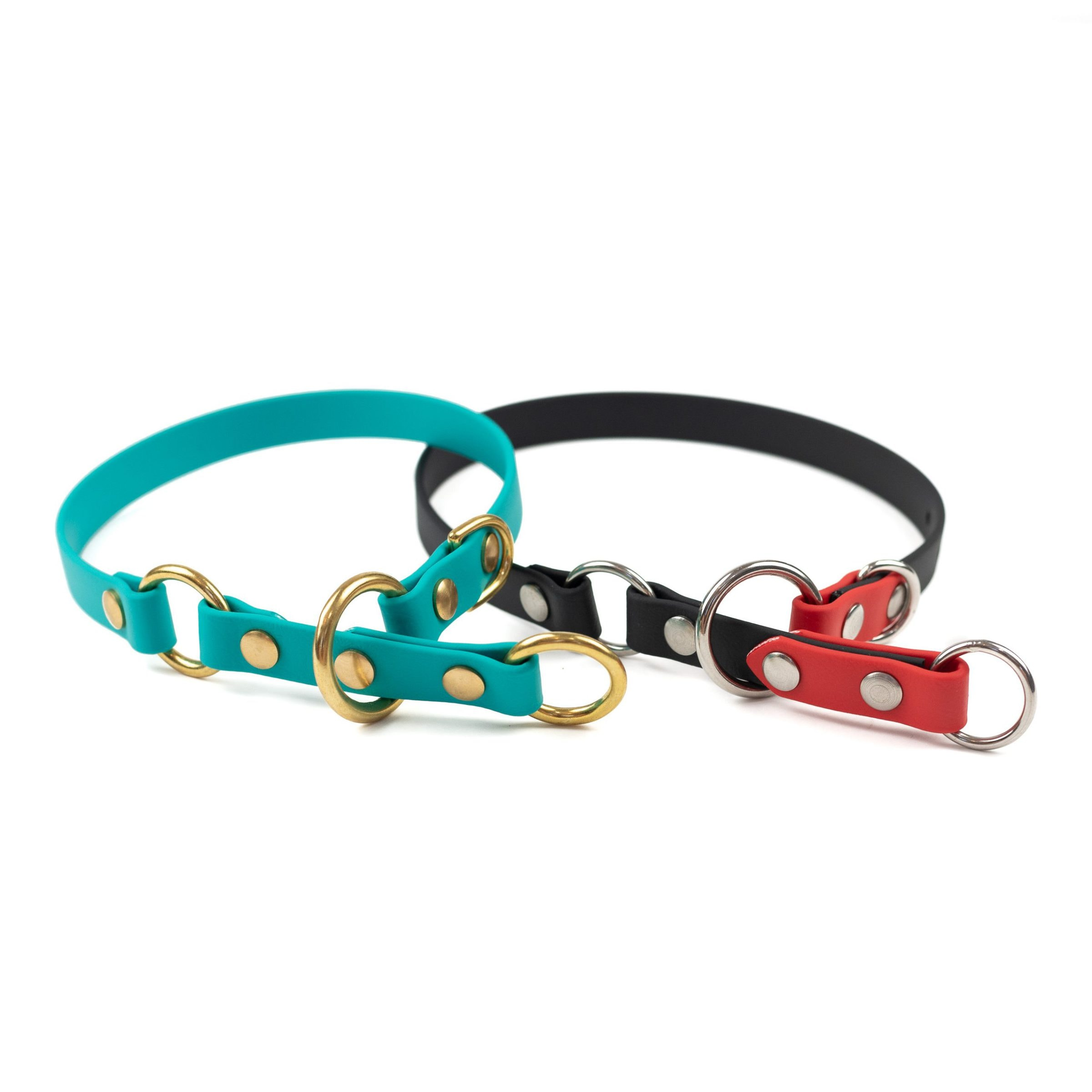 "black, red, stainless steel and teal, brass 5/8"" o-ring limited slip dog collar"