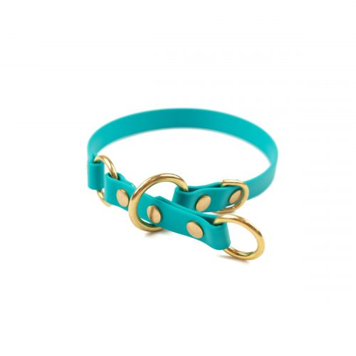 "Teal and brass 5/8"" o-ring limited slip collar"