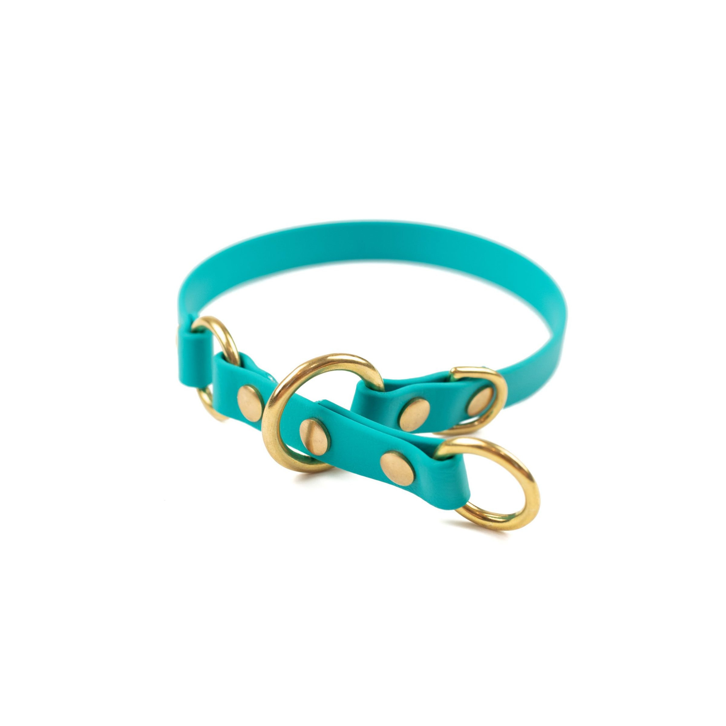 """Teal and brass 5/8"""" o-ring limited slip collar"""